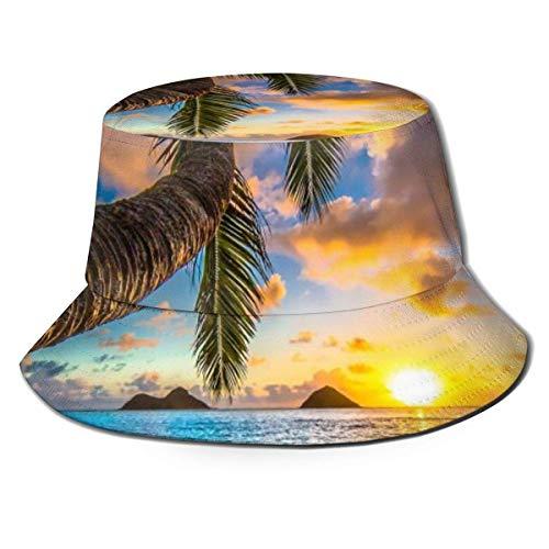 Cappello Sunrise Beach Acqua di Mare Albero ellittico Cappello da Sole Cappello da Esterno Protezione Solare UV Cappello a Secchiello Pieghevole Leggero Traspirante Unisex Nero