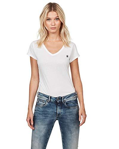 G-STAR RAW Damen Eyben Slim V T Wmn S/S T-Shirt, Weiß (White 110), 40 (Herstellergröße:L)