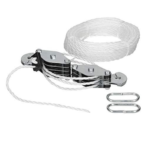 ECD Germany Polea del polipasto de cable- 180 kg - Longitud del cable 20 m - Polipasto de cable