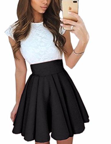 Imagine Women'S Basic Solid Versatile Stretchy Flared Casual Mini Skater Skirt, Black, SMALL