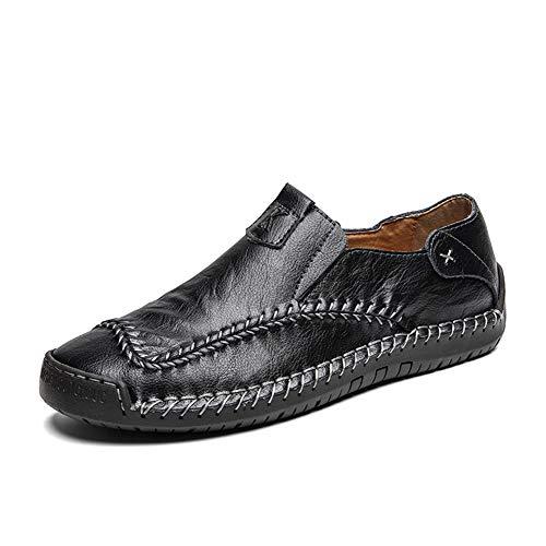 Herren Lederschuhe Leder Spring & Summer Vintage/Chinoiserie Loafers & Slip-Ons-Walking-Schuhe atmungsaktiv Schwarz/Braun/Party & Evening/Outdoor,Schwarz,9 UK