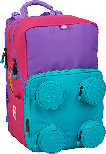 Lego Bags - Zaino per la scuola Petersen, solo 1,07 kg, con motivo Lego, dimensioni ca. 38 x 25 x 27 cm, 23 litri, zaino per la scuola e Brick 2 x 2, colore: rosa/viola