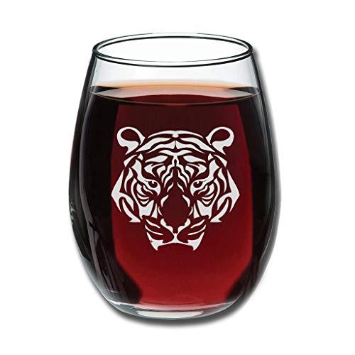 Bohohobo Libbey Weinglas ohne Stiel, Tiger, 350 ml, Weinglas für Rot- und Weißwein, spülmaschinenfest, herzwärmendes Geschenk für Hochzeit, Weiß
