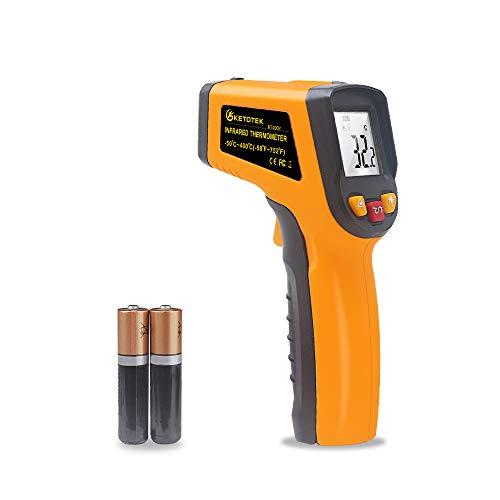 KETOTEK Termómetro Infrarrojos Pistola Laser Digital Termómetro Pistola Infrared Thermometer -50 ℃ - 400 (-58-752) Sin contacto Punto Termometros Pistola Termómetro (no para humanos)