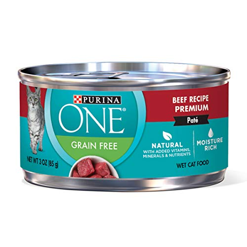 Price comparison product image Purina ONE Natural,  High Protein,  Grain Free Pate Wet Cat Food,  Beef Recipe - (24) 3 oz. Pull-Top Cans