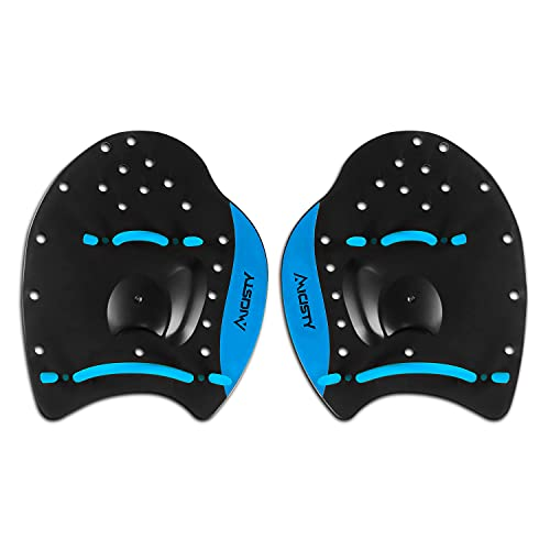 Micisty Hand Pandle for Kids Adult Swim Training Power Plus Paddles with Adjustable Straps (Blue, M)