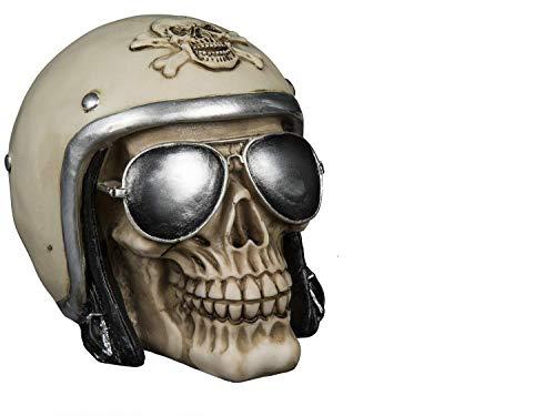 Spardose Schädel Kopf Form mit Motorradhelm & Sonnenbrille, ca. 16 x 12 cm, aus Polyresin für die Urlaubskasse I Spardose Keramik als Geldgeschenk - Deko - Spardose I Spardose groß
