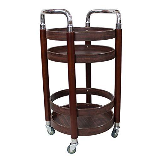 Solid wood stainless steel wine rack with wheel bar restaurant tea wine rack service car furniture kitchen kitchen trolley load 30kg - 4 styles