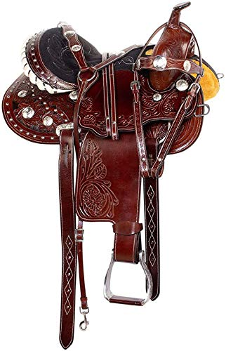 Blue Lake Premium Western Leather Barrel Racing Youth & Pony Horse Saddle with Matching Leather Headstall + Breast Collar + Reins | Color : Coffee Brown - Black | Size 12.5 Inches Seat Available