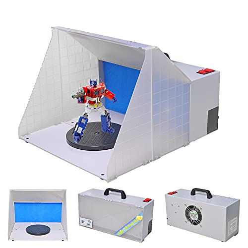 AW Portable Airbrush Paint Spray Booth Kit Pro Paint Set with Turn Table Powerful Fan for Painting Art Toy Model Parts Cakes Hobby