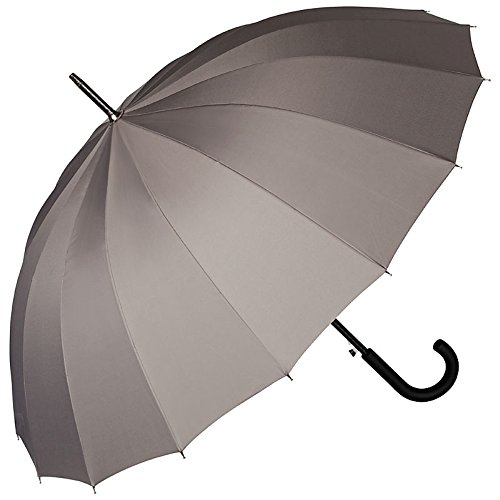 VON LILIENFELD Paraguas Mujer Hombres Automática Grande 16 segmentos Devon Gris