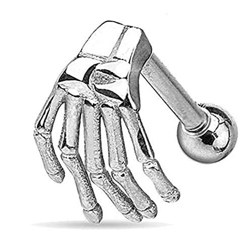 CACAZI Anillo De Ceja De Acero Inoxidable Esqueleto Reutilizable Mano Simulado Decorativo Punk Anillo De Nariz Cartílago Labial De Acero Inoxidable
