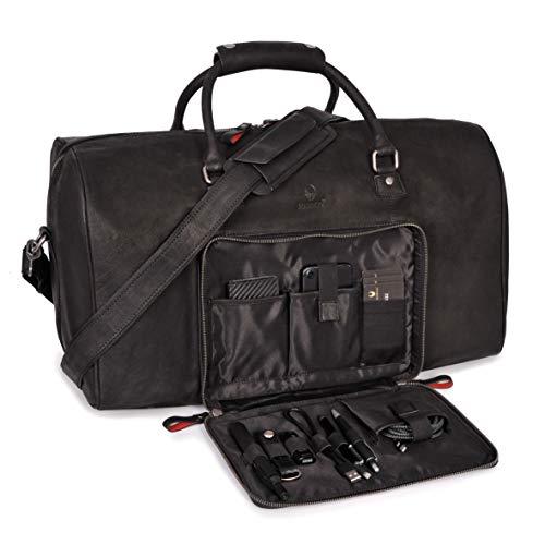 DONBOLSO® Weekender Neapel - Hochwertige Reisetasche Herren groß - Leder Reisetasche Schwarz - Handgepäck Ledertasche Größe XXL mit 51 Litern