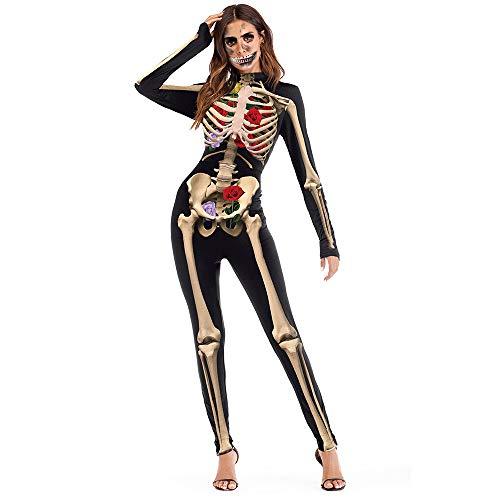 EraSpooky Disfraz de Esqueleto para Mujer Disfraz Onesie Traje Divertido de Fiesta de Halloween para Adultos