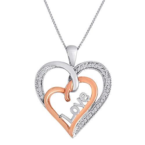 Ani's Collar con colgante de plata de ley con diamante blanco de 1/10 quilates y oro rosa de 14 quilates sobre corazón