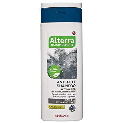 Alterra Anti-Fett Shampoo 200 ml für schnell fettendes Haar, Aktivkohle & Bio-Zitronenmelisse, befreit von Rückständen & erfrischt die Kopfhaut