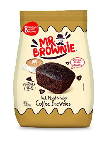 Mr. Brownie Coffee Brownies | 8 Individually Wrapped Brownie Bites | Snack Packs for Kids & Adults | Real Belgian Chocolate