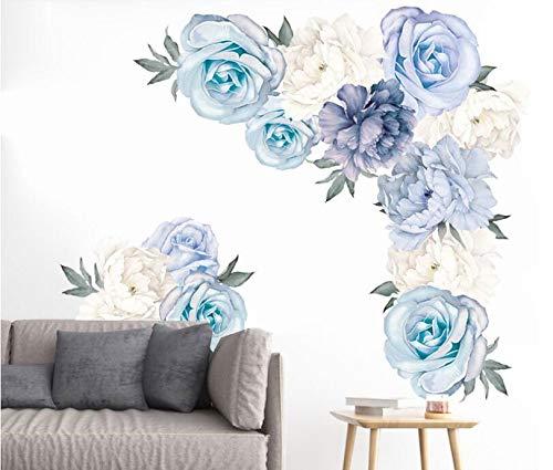 COVPAW® Wandtattoo Wandaufkleber XXL Pfingstrose Blumen Ranke Rosen Blau Wandsticker Wandbild Bilder Wohnzimmer Schlafzimmer Deco