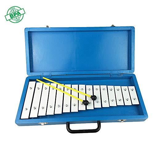 HSJLH Blaues Holzkiste 15 Ton Aluminium Klavier, Glockenspiel Kinderbildungsniveau Perkussion, Erwachsene und Kinder - mit einem Schlägel Schlaginstrument