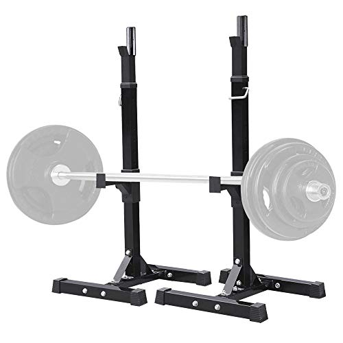 Topeakmart 45-70.5in Adjustable Squat Rack Dipping Station Barbell Rack Dip Stand Fitness Bench Press Equipment Home & Gym