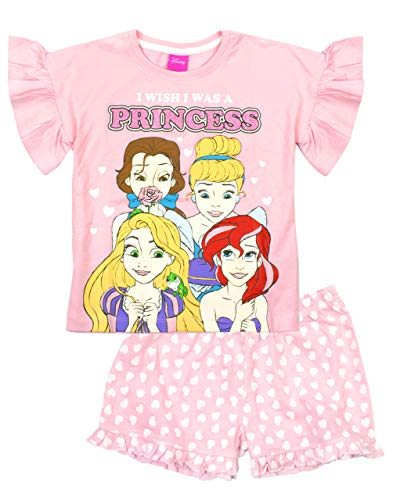 Disney Princesas Pijamas Girls Pink Ariel Bella Cinderella Top Shorts PJS Set 4-5 años