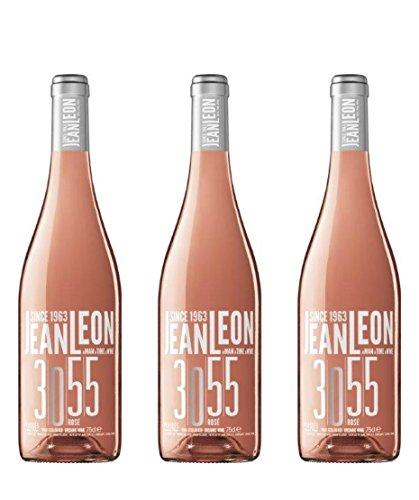 Jean Leon 3055 Rosé, Vino Rosado Ecológico - 3 botellas de 75 cl, Total: 2250 ml