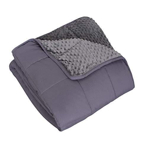 Boston Linen Co. Manta pesada de 20 libras - Manta de algodón con peso de Queen-Cobija con peso Queen-Manta de vidrio - para 1 persona (~ 86,2 kg) - (gris) (60 x 80 pulgadas, 9 kg)