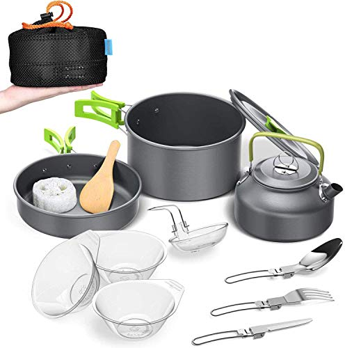 BGVANG Camping Cookware Outdoor Cooking Mess Kit Portable Lightweight Pots Pans Water Kettle Set for Backpacking, Outdoor Camping Hiking and Picnic
