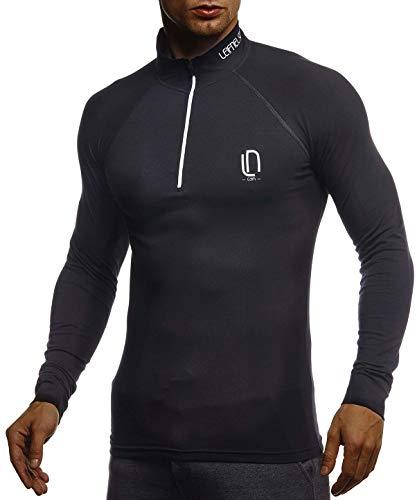 Leif Nelson Gym Jungen Fitness Shirt Trainingsshirt Slim Fit | Moderner Männer Bodybuilder Sportshirt Langarm | Jungen Sport T-Shirt Bekleidung für Bodybuilding Training | LN8282 Schwarz-Weiß Large