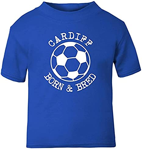 Hat-Trick Designs Cardiff City Football Baby Childrens T-Shirt Top-Royal Blue-Born /& Bred-Unisex Gift