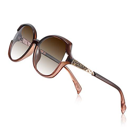 PORPEE Gafas de Sol Mujer Polarizadas, 2020 Gafas de Sol Moda con Tecnología de Incrustación de Diamante - Lente de Nylon Polarizado | UV400 Protection | Resistencia al Deslumbramiento