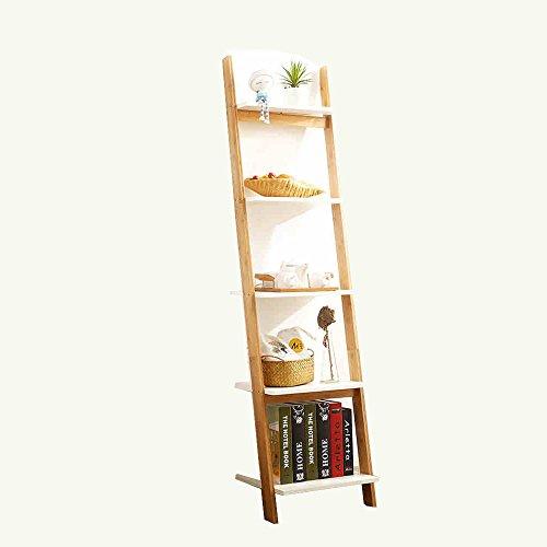 HAIZHEN Wandrekken 4 Tier Boekenkast Witte Ladder Rek Eenheid Display Planken Opslagrekken Leuning Boekenplank Stevig, Modern & Multi Gebruik voor alle kamers Binnen Sterke stabiliteit