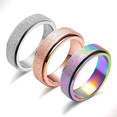 Spinner Ring for Women Anxiety Relief - 3Pcs Fashion 6MM Stainless Steel Sand Blast Glitter Finish Rose Gold Silver Rainbow Color Fidget Ring Band Set Stress Sensory Figit Spin Figet Jewelry Size 5