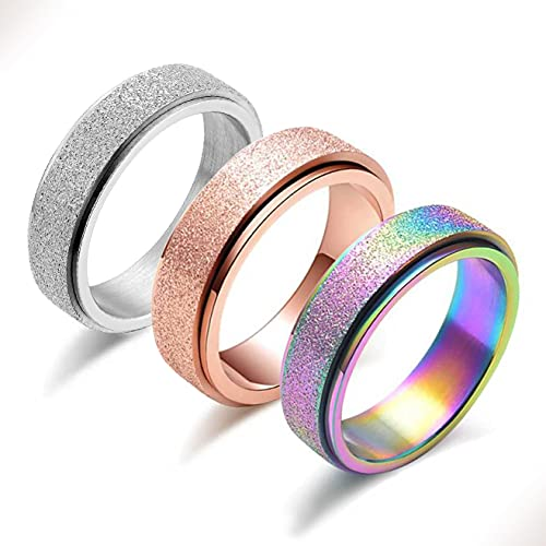 Spinner Ring for Women Anxiety Relief - 3Pcs Fashion 6MM Stainless Steel Sand Blast Glitter Finish...