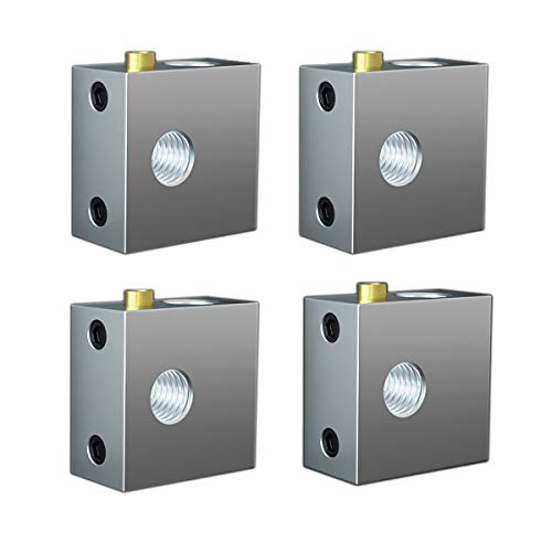 4 Piezas Bloque Calefactor de Impresora 3D - Bloque Calefactor de Extrusión de Bloque de Calefacción de Aleación de Aluminio Bloque Calefactor Hotend para Impresora 3D (Plata)