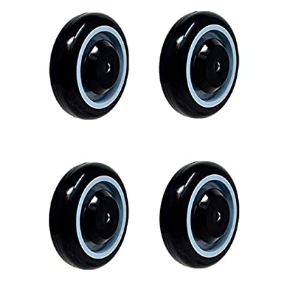 """SY America 5"""" Polyurethane Stepped and Full Tread Face with Double Ball Bearing Shopping Cart Wheel High Capacity"""