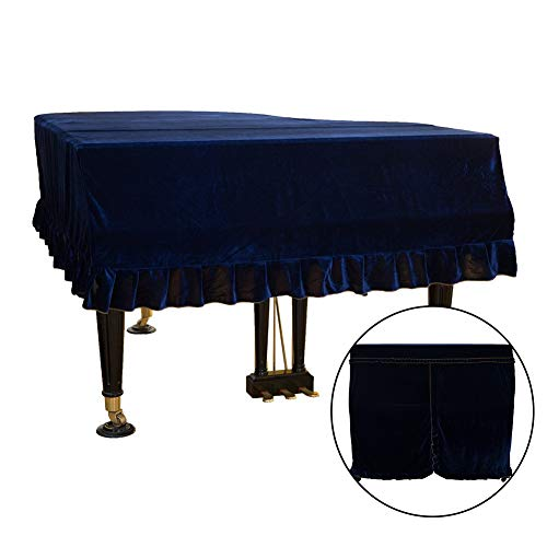 Mettoo Grand Piano Cover, Pleuche Dustproof Washable Piano Cover   Resistant to Dirt Gold Soft Bordered Triangle Decorated Protective Cover Cloth for Grand Piano