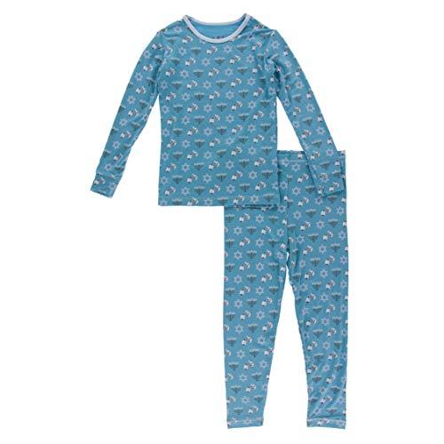 KicKee Pants Print Pajama Set with Long Sleeve Tee, Ultra Soft and Snug Fitting PJ's - Matching Top and Bottom Sleepwear Set, Newborn to Baby Pajamas (Blue Moon Hanukkah - 5 Years)