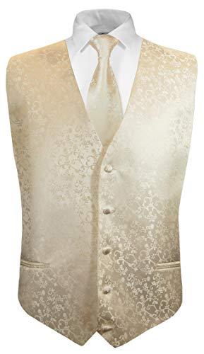 Festliche Jungen Anzug Weste mit Krawatte 2tlg Champagner floral für Kinderanzug 104-110 (4 Jahre)