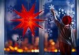 3D Leuchtstern inkl. warm-weißer LED Beleuchtung | für Innen und Außen geeignet | hängend | 7,5 m Zuleitung | ca. 57x44x48 cm (Rot) - 3