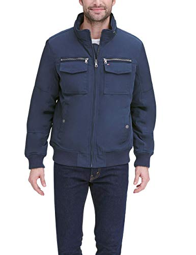 Tommy Hilfiger Men's Water and Wind Resistant Performance Bomber Jacket (Standard and Big & Tall), Halogen Blue, X-Large