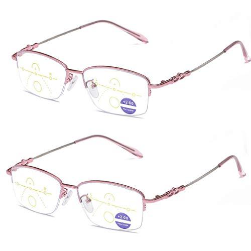 Reading Glasses LING AI DA Mai leesbril 2 paar veerscharnieren vintage heren leesbril, duidelijke visuele effecten en een lichte bril met anti-verblindingsfilter