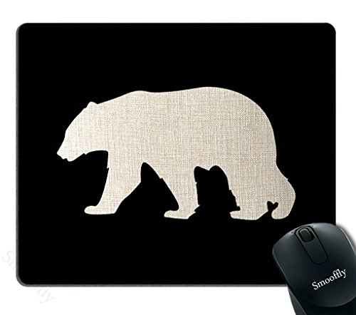 Smooffly Black Mouse Pad,Black Background Bear Customized Rectangle Non-Slip Rubber Mousepad Gaming Mouse Pad
