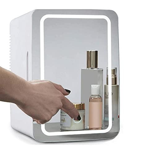 Mini Nevera Mini Refrigerador Mirror de maquillaje Frigorífico de cuidado de la piel con luz LED 8 litros Portátil Cosmética Skincare refrigerador Mini refrigerador para la oficina del dormitorio del