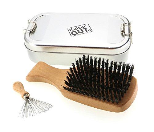 Cadeau pour homme: Brosse à cheveux exclusive pour homme en bois de poirier avec des poils de sanglier, incluant un nettoyant à peigner avec des poils métalliques dans une boîte en métal.