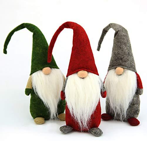 Iris Fairy Natale Decorazioni Santa Peluche Senza Volto Lunghe Gambe Bambole Giocattoli Regalo Ciondolo per Finestra Bambola Borsa del Vino Christmas Decor 3pcs (Bambola Seduta)