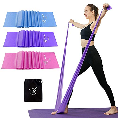 Therapy Flat Resistance Bands Set, Exercise Stretch Bands for Stretching, Flexibility, Pilates, Yoga, Ballet, Gymnastics and Rehabilitation (3 Set - 120cm Length)