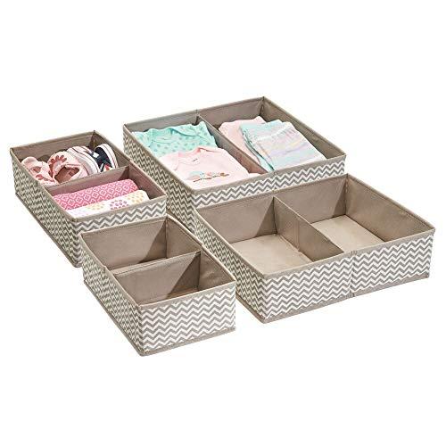 mDesign Baby Organizer im 4er-Pack – tolles Set mit zahlreichen Fächern für Windeln, Feuchttücher etc. – ideale Aufbewahrungsbox zur Spielzeug Aufbewahrung – taupe/natur