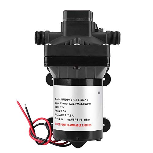 Estink Caravan Wasserpumpe, 12V Wasserpumpe Selbstansaugende, 55 PSI 3 Gallonen pro Minute 7,5 Ampere, 4008-101-E65, mit Druckschalter