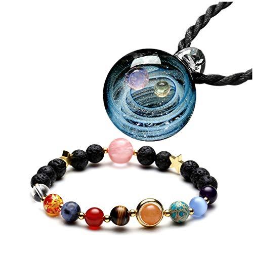 CrystalTears Universum Galaxie Nebel Doppel Planet Schmuckset Damen Herren Halskette mit Kugel Anhänger aus Lampwork Glas + Sonnensystem Elastisches Healing Edelstein Armband